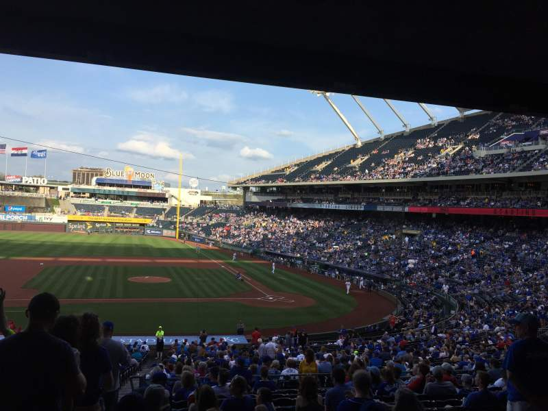 Vista sentada para Kauffman Stadium Secção 223 Fila NN Lugar 1