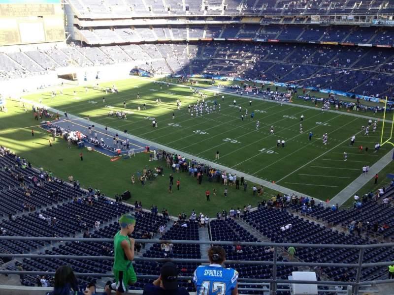 Vista sentada para San Diego Stadium Secção V13 Fila 5a Lugar 3