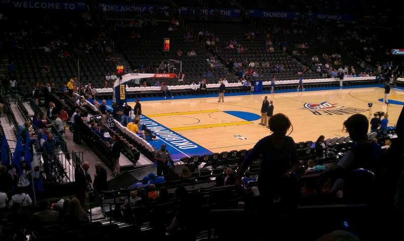 Vista sentada para Chesapeake Energy Arena Secção 118 Fila Q Lugar 4