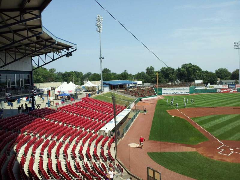 Vista sentada para Veterans Memorial Stadium (Cedar Rapids) Secção 206