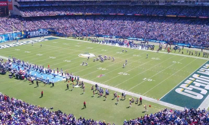 Vista sentada para San Diego Stadium Secção LV Fila 1 Lugar 1