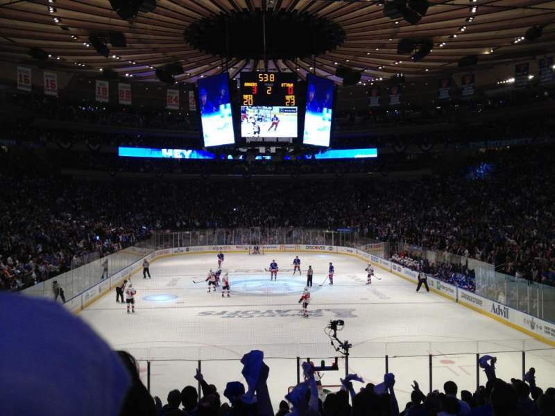 Vista sentada para Madison Square Garden Secção 102 Fila 14 Lugar 6