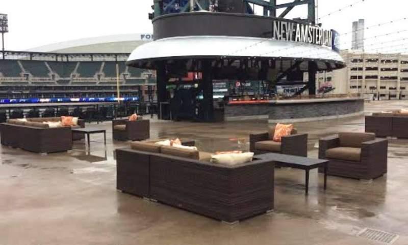 Vista sentada para Comerica Park Secção Pepsi Porch Fila New Amsterda Lugar Open Air Seat