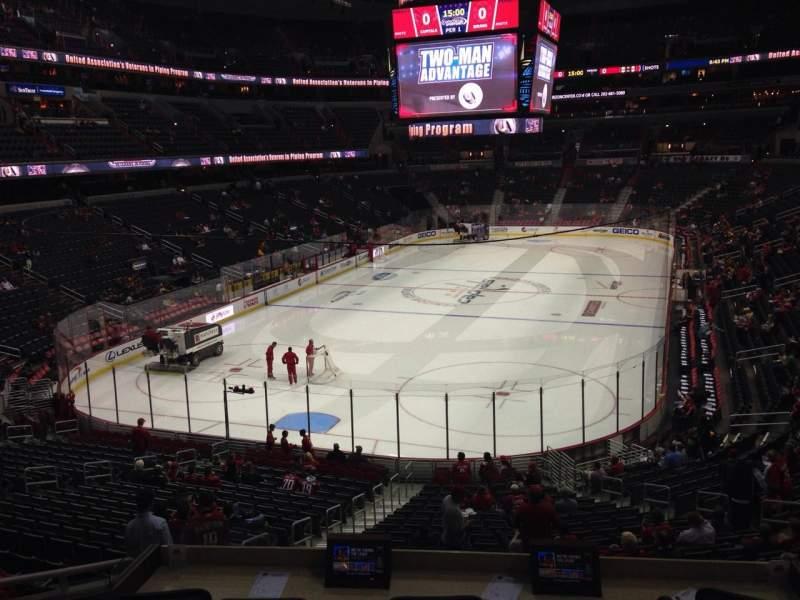 Vista sentada para Capital One Arena Secção 107 Fila X Lugar 4