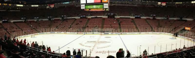 Vista sentada para Joe Louis Arena Secção 121 Fila 16 Lugar 9