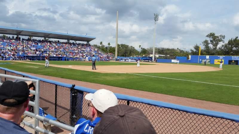 Vista sentada para Dunedin Stadium (Florida) Secção 100A Fila 2 Lugar 18