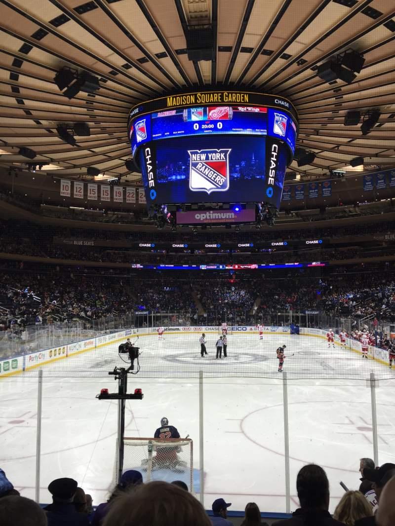 Vista sentada para Madison Square Garden Secção 102 Fila 8 Lugar 13
