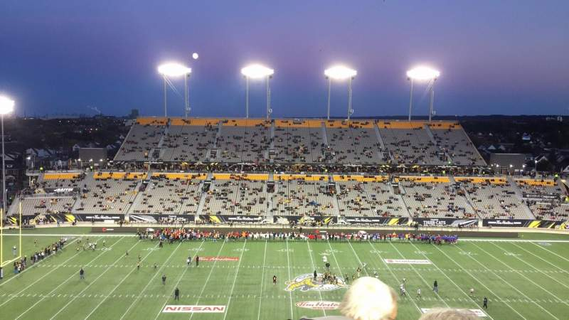 Vista sentada para Tim Hortons Field Secção 205 Fila 7 Lugar 28