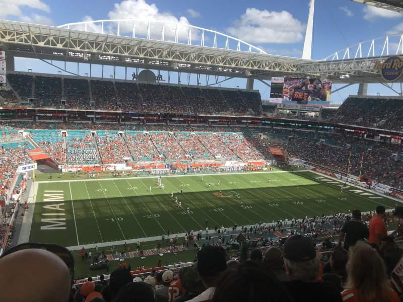 Vista sentada para Hard Rock Stadium Secção 350 Fila 21 Lugar 13