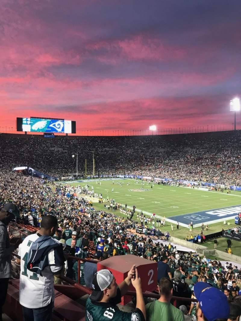 Vista sentada para Los Angeles Memorial Coliseum Secção 201 Fila 10 Lugar 35