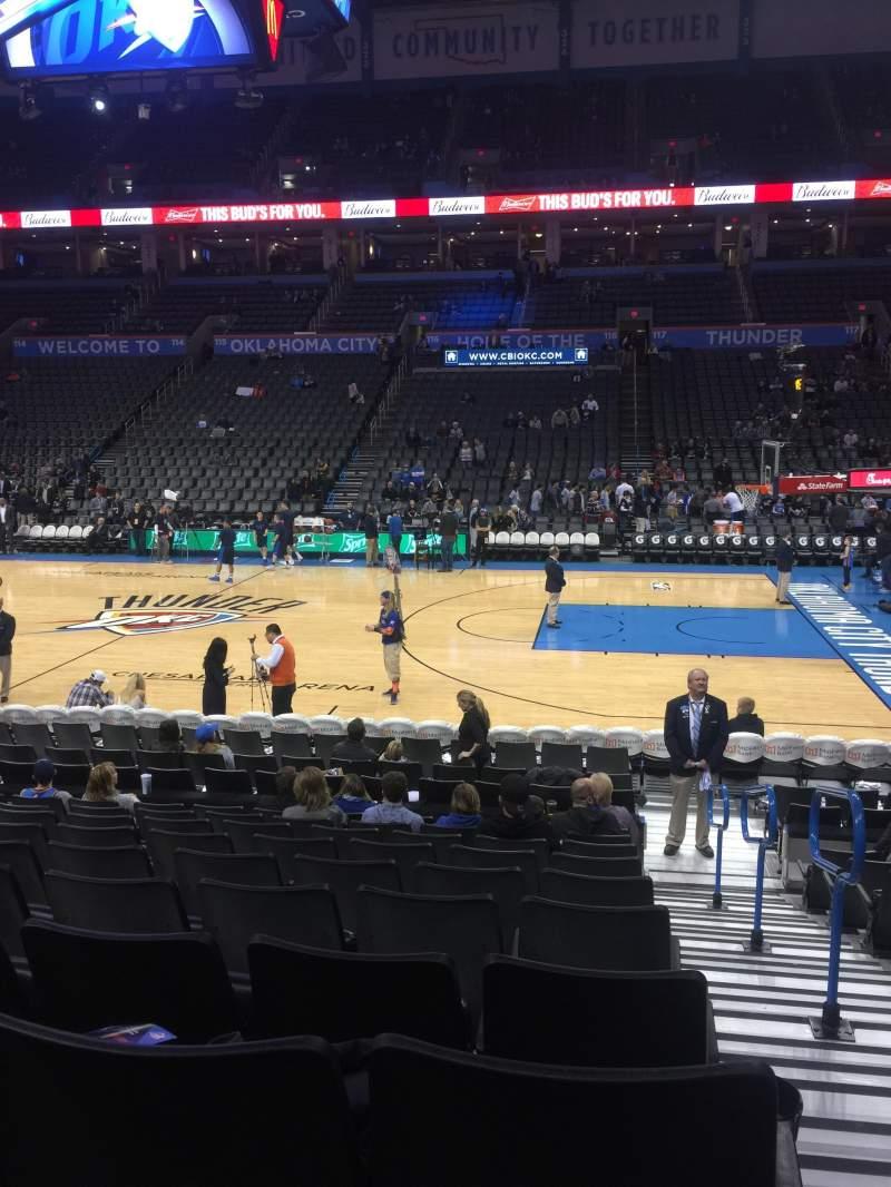 Vista sentada para Chesapeake Energy Arena Secção 105 Fila L Lugar 1