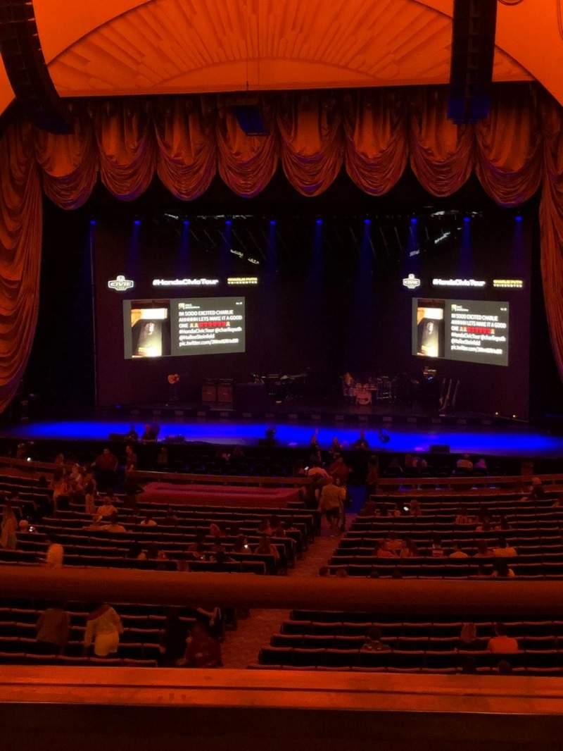 Vista sentada para Radio City Music Hall Secção 1st Mezzanine 3 Fila B Lugar 305