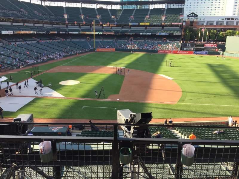 Vista sentada para Oriole Park at Camden Yards Secção 220 Fila 2 Lugar 3