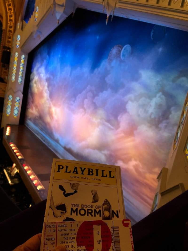 Vista sentada para Eugene O'Neill Theatre Secção Boxes RIGHT Fila B Lugar 1