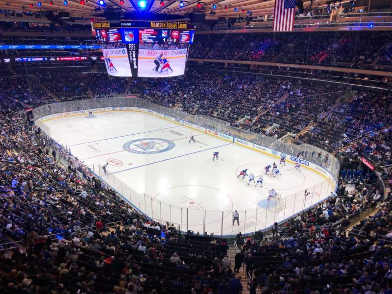 Vista sentada para Madison Square Garden Secção 414 Fila 1 Lugar 6