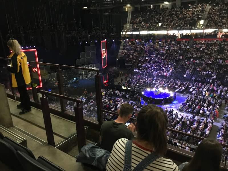 Vista sentada para Manchester Arena Secção 204 Fila c Lugar 5