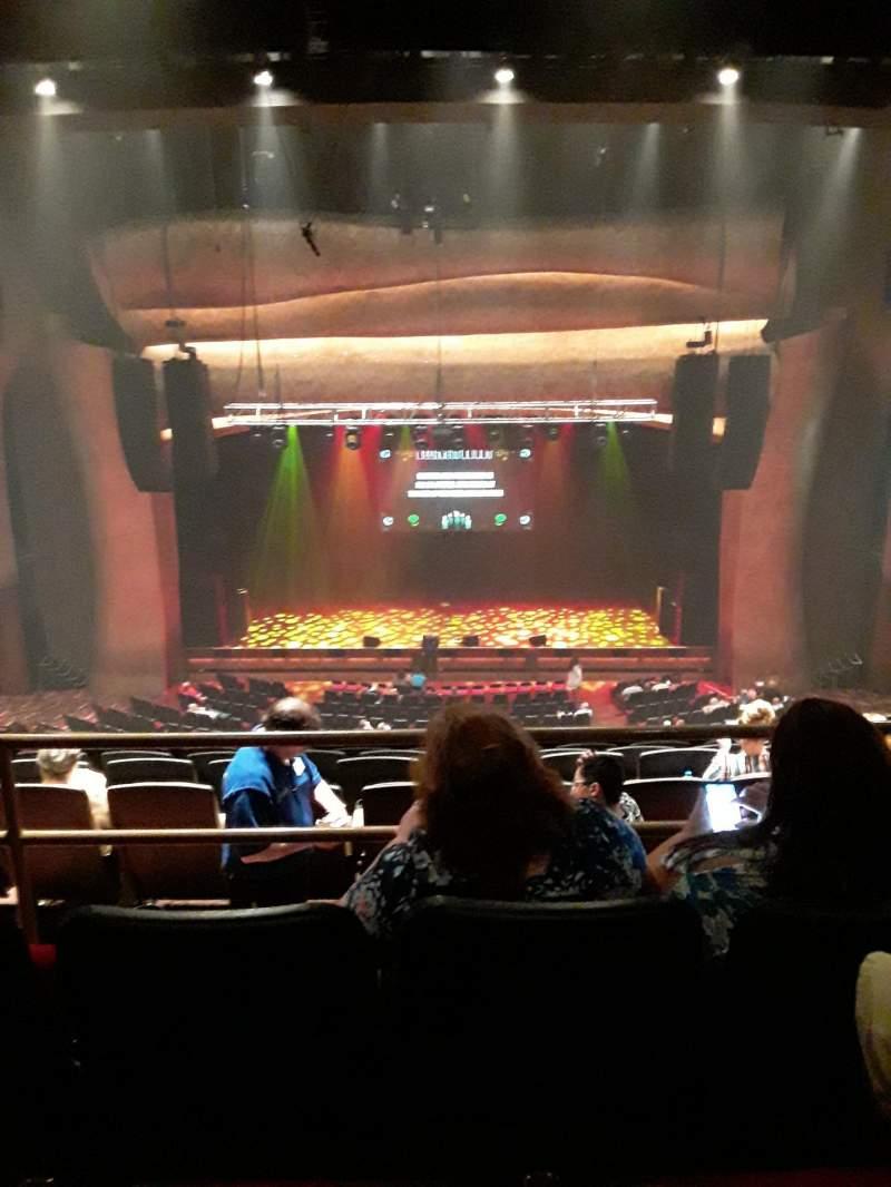 Vista sentada para The Grand Theater at Foxwoods Secção Mezzanine  Center Fila J Lugar 208