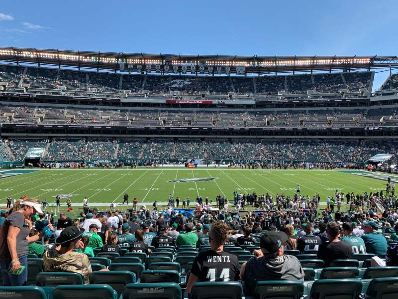 Vista sentada para Lincoln Financial Field Secção 101 Fila 35 Lugar 8