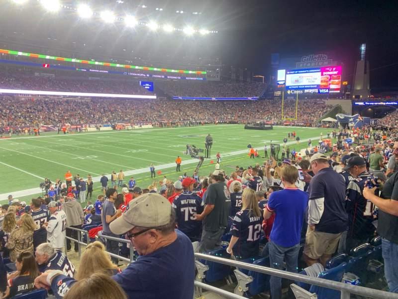 Vista sentada para Gillette Stadium Secção 115 Fila 20 Lugar 3