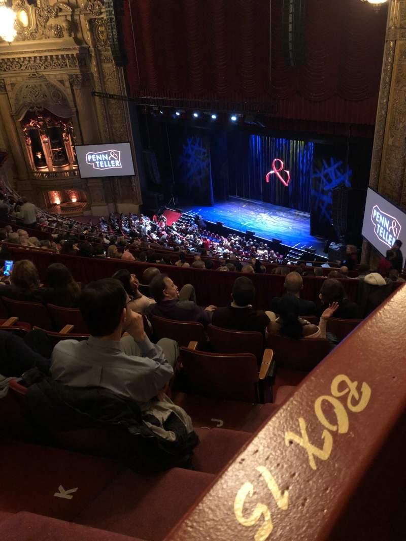 Vista sentada para Chicago Theatre Secção Balcony box 15