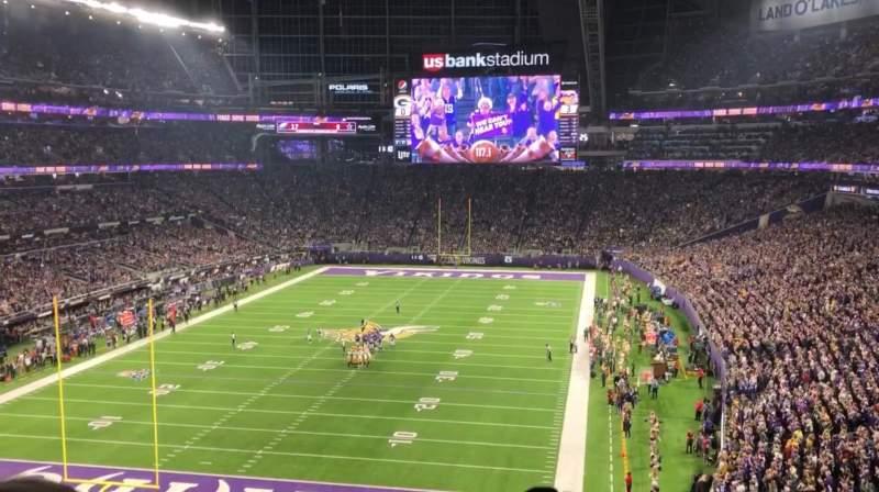 Vista sentada para U.S. Bank Stadium Secção 221 Fila 3 Lugar 19