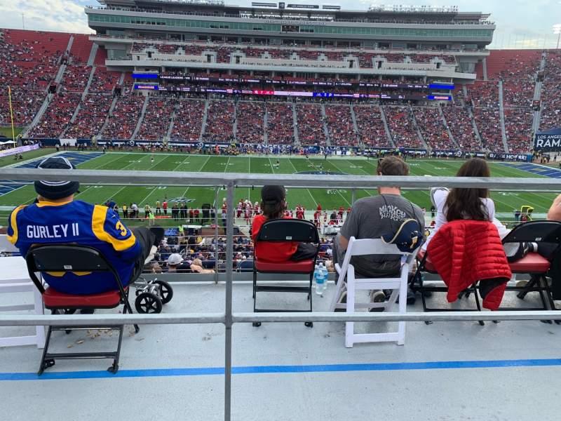 Vista sentada para Los Angeles Memorial Coliseum Secção 222B Fila 1 Lugar 9