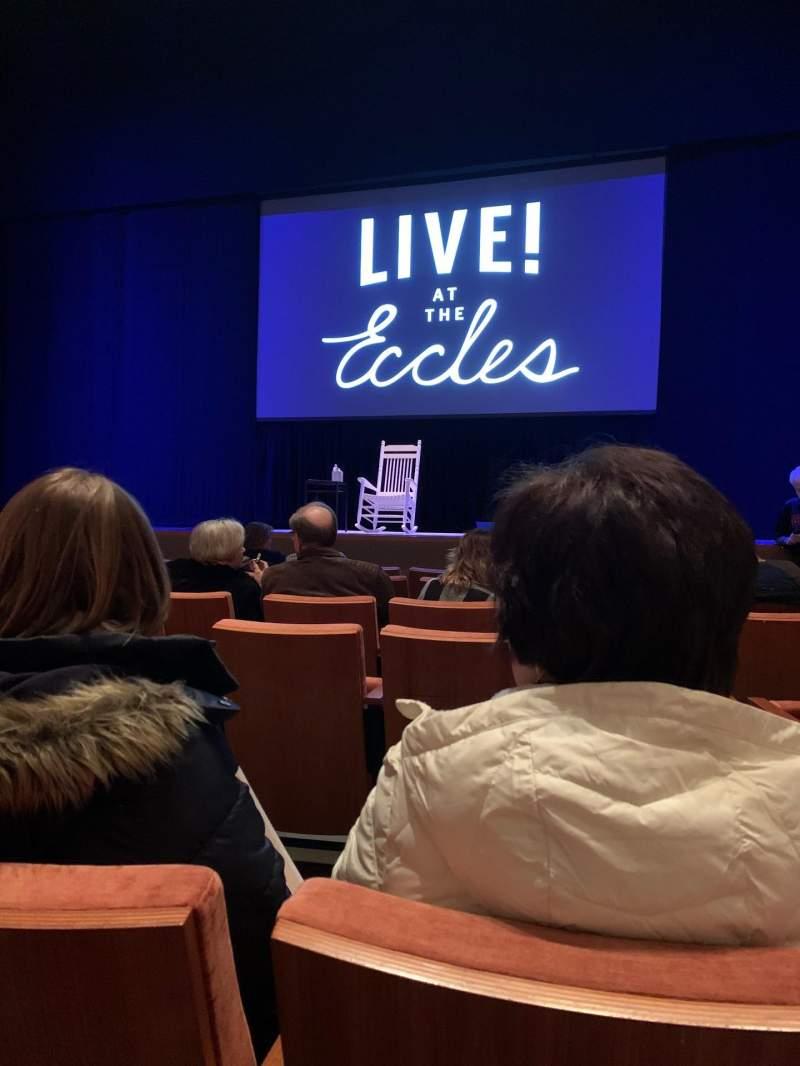 Vista sentada para Eccles Theater Secção Orchestra C Fila D Lugar 2