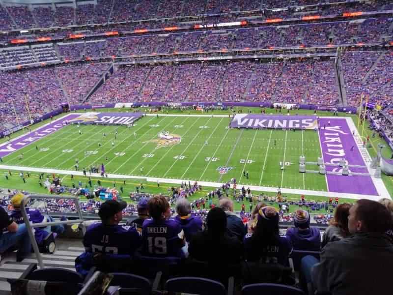 Vista sentada para U.S. Bank Stadium Secção 338 Fila E Lugar 17