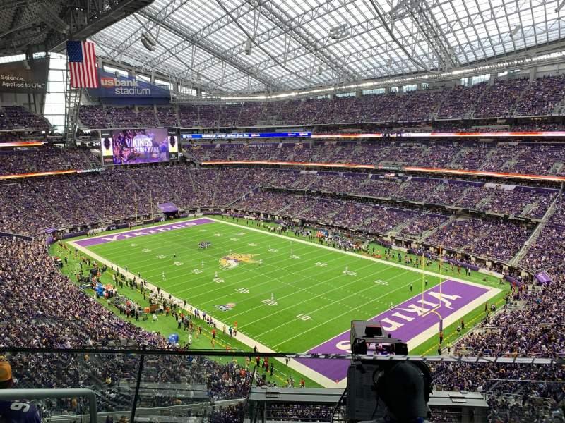 Vista sentada para U.S. Bank Stadium Secção 304 Fila D Lugar 16-17
