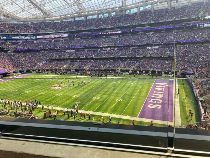 Vista sentada para U.S. Bank Stadium Secção 206 Fila 1 Lugar 12