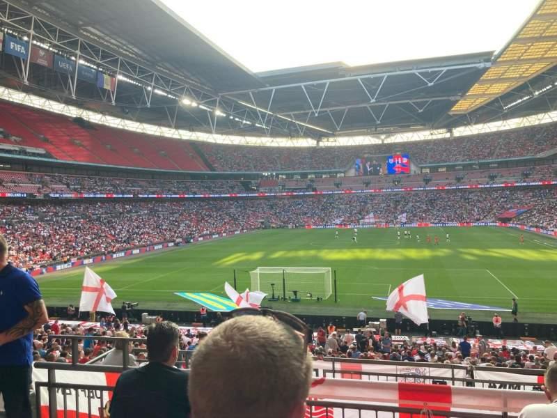 Vista sentada para Wembley Stadium Secção 111 Fila 34 Lugar 248