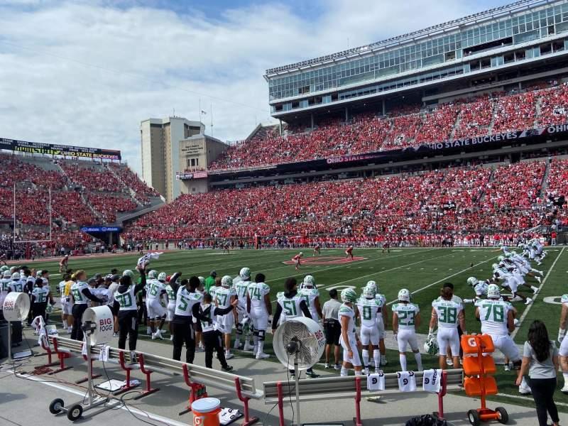 Vista sentada para Ohio Stadium Secção 18AA Fila 1 Lugar 23