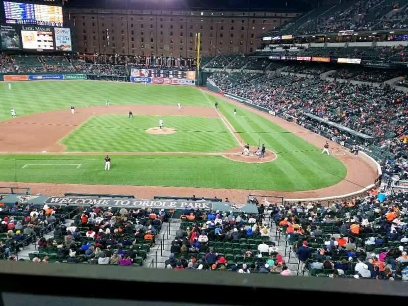 Vista sentada para Oriole Park at Camden Yards Secção 246 Fila 1 Lugar 7