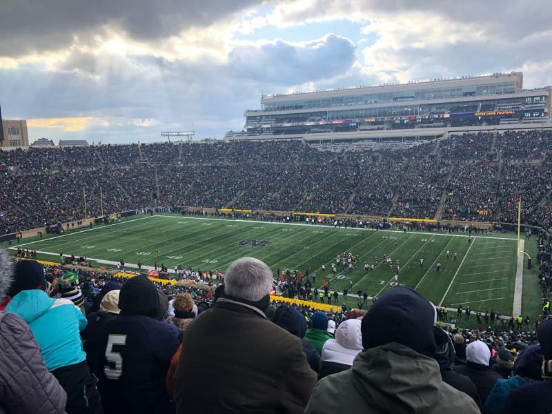 Vista sentada para Notre Dame Stadium Secção 107 Fila 25 Lugar 16