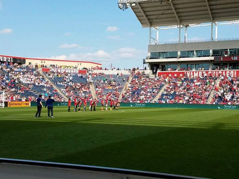Vista sentada para SeatGeek Stadium Secção 108 Fila 1 Lugar 20