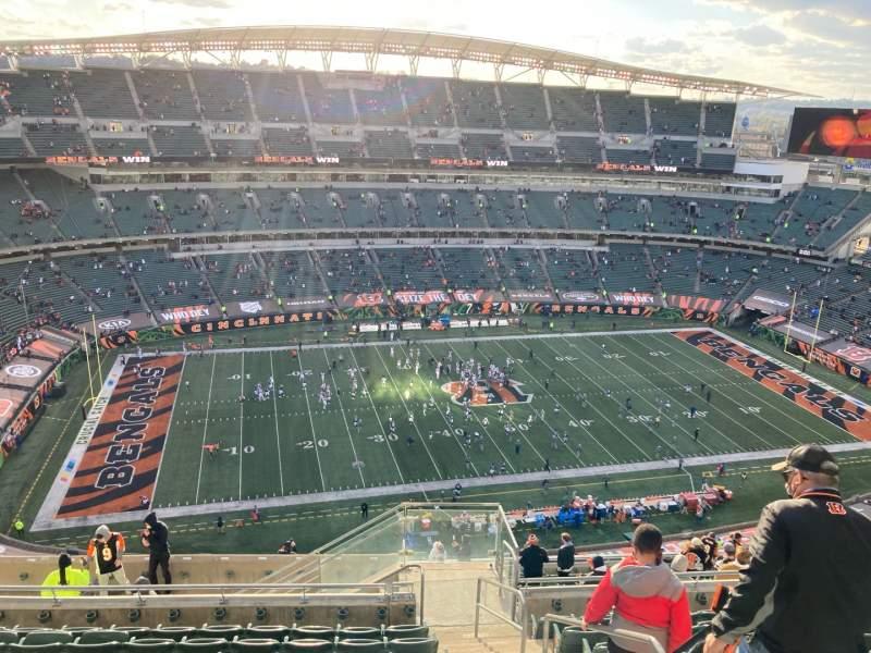 Vista sentada para Paul Brown Stadium Secção 343 Fila 22 Lugar 2