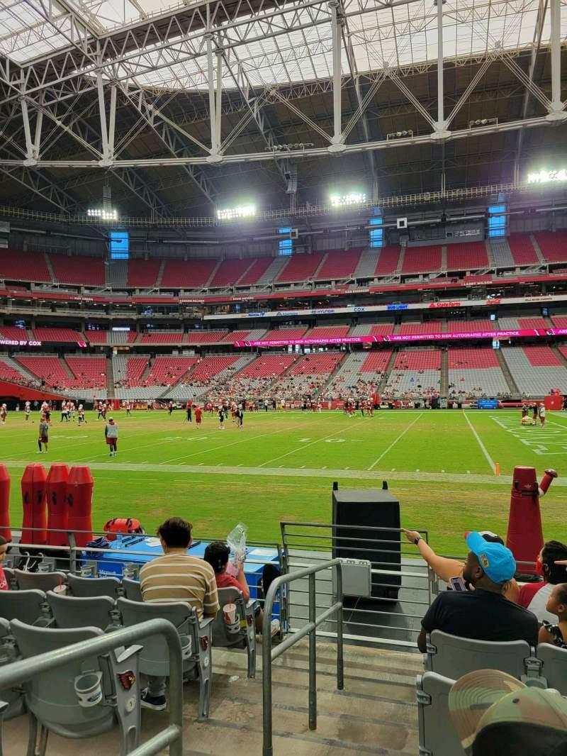 Vista sentada para State Farm Stadium Secção 129 Fila 6 Lugar 18