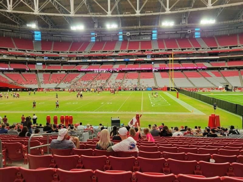 Vista sentada para State Farm Stadium Secção 129 Fila 20 Lugar 14