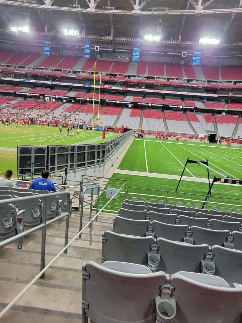 Vista sentada para State Farm Stadium Secção 127 Fila 8 Lugar 18