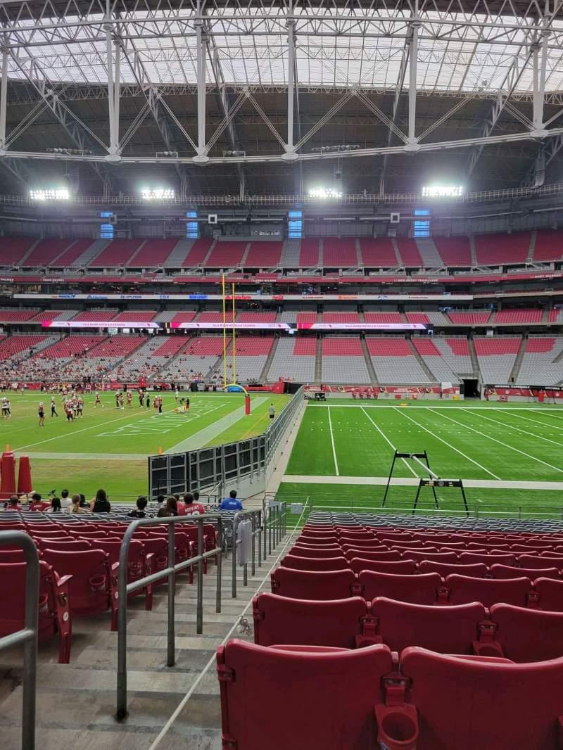 Vista sentada para State Farm Stadium Secção 127 Fila 18 Lugar 18