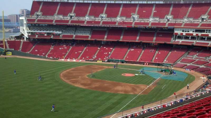 Vista sentada para Great American Ball Park Secção 410 Fila H Lugar 1