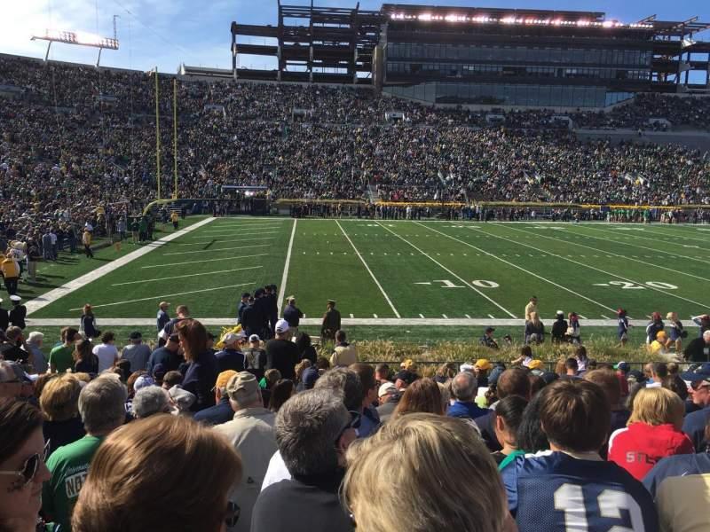 Vista sentada para Notre Dame Stadium Secção 13 Fila 20 Lugar 3