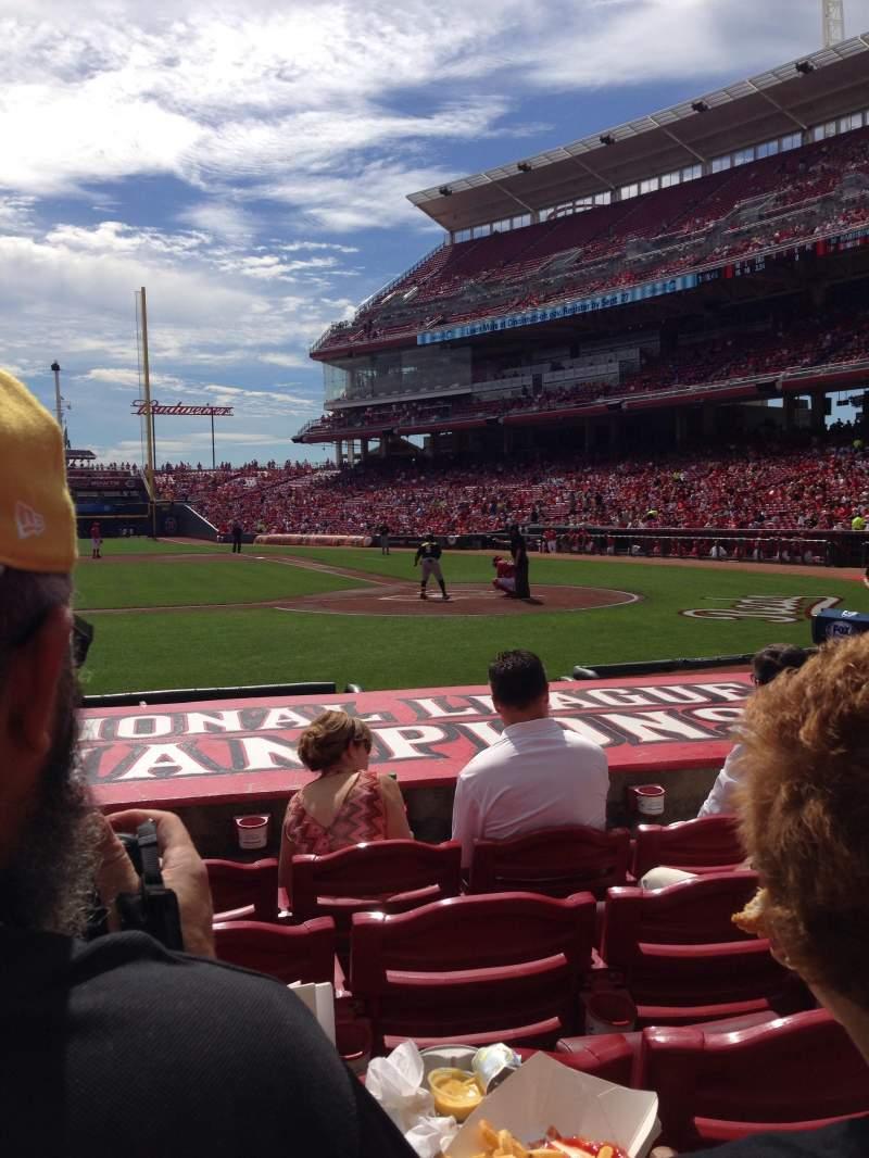 Vista sentada para Great American Ball Park  Secção 118 Fila J Lugar 6