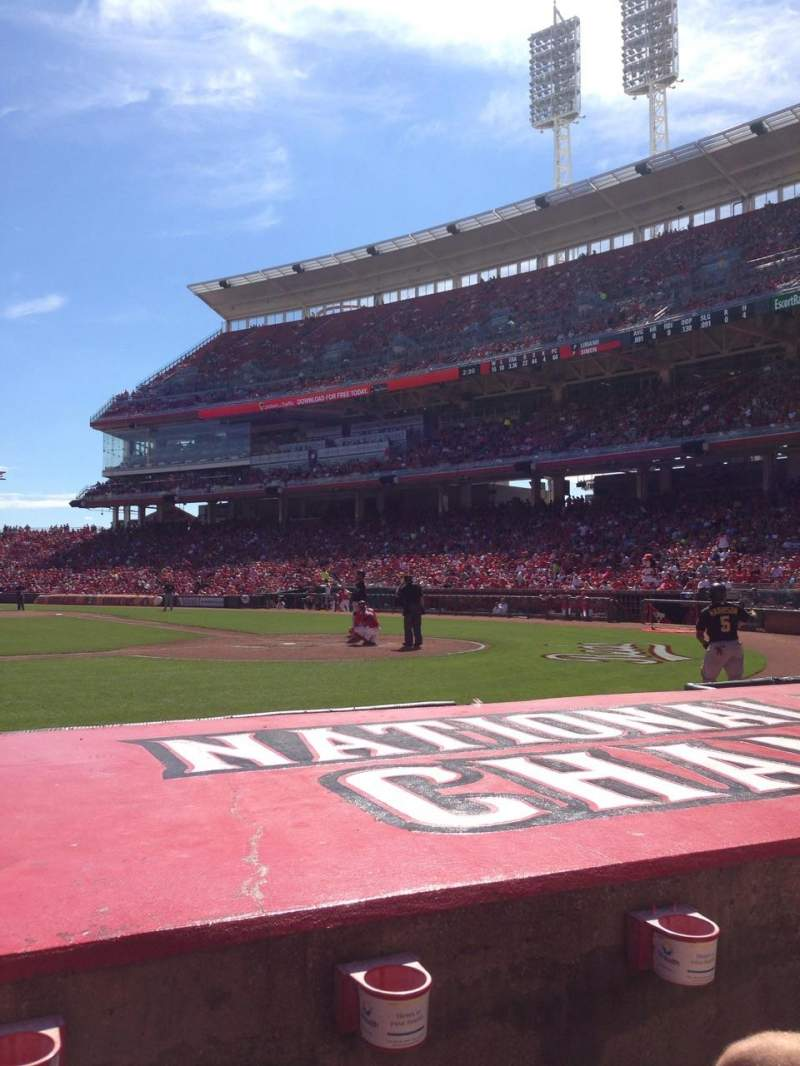 Vista sentada para Great American Ball Park Secção 118 Fila F Lugar 8
