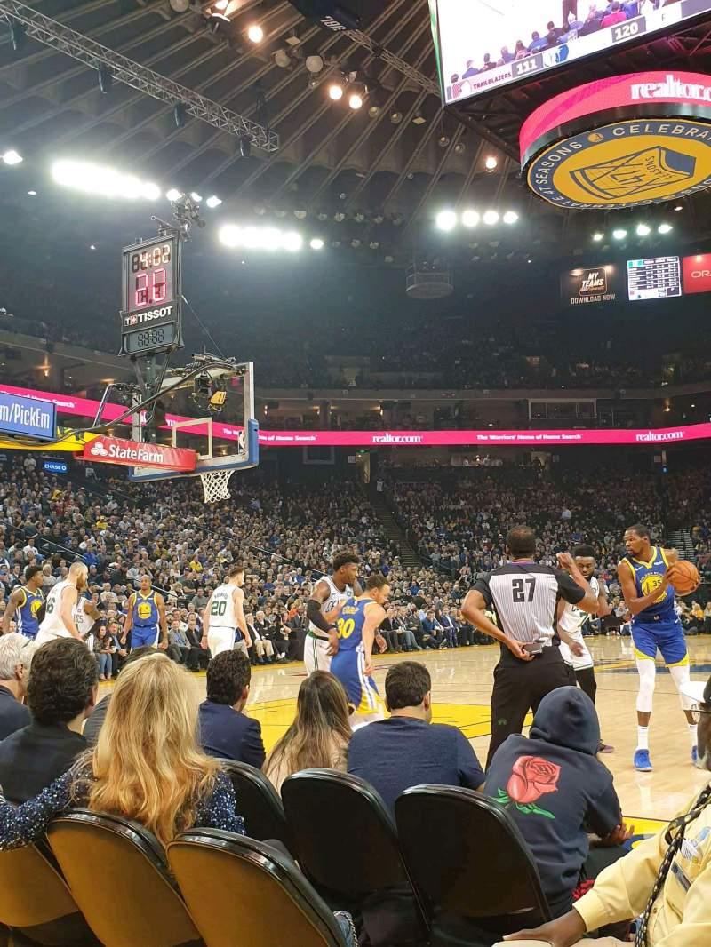 Vista sentada para Oakland Arena Secção 5 Fila A2 Lugar 7