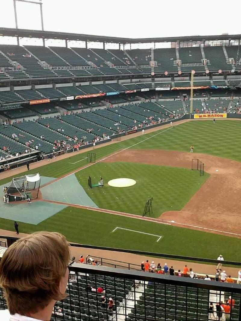 Vista sentada para Oriole Park at Camden Yards Secção 318 Fila 2 Lugar 7-8