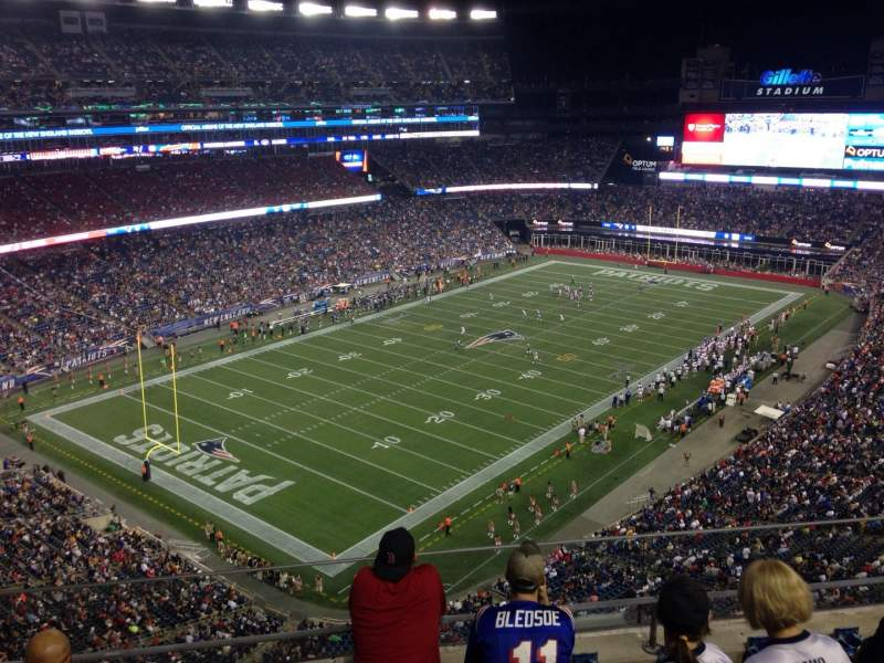 Vista sentada para Gillette Stadium Secção 340 Fila 5 Lugar 16