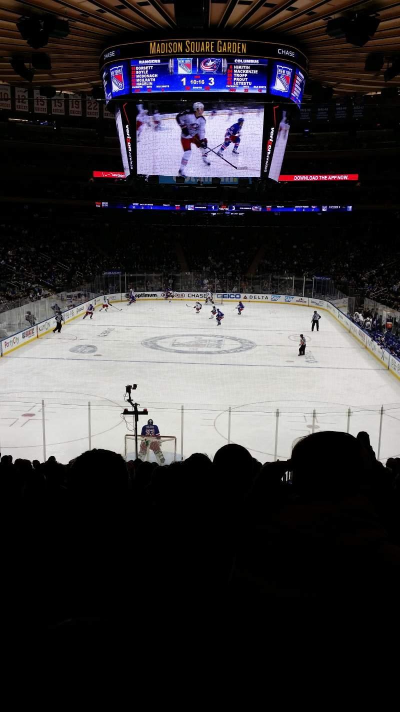 Vista sentada para Madison Square Garden Secção 102 Fila 19 Lugar 19