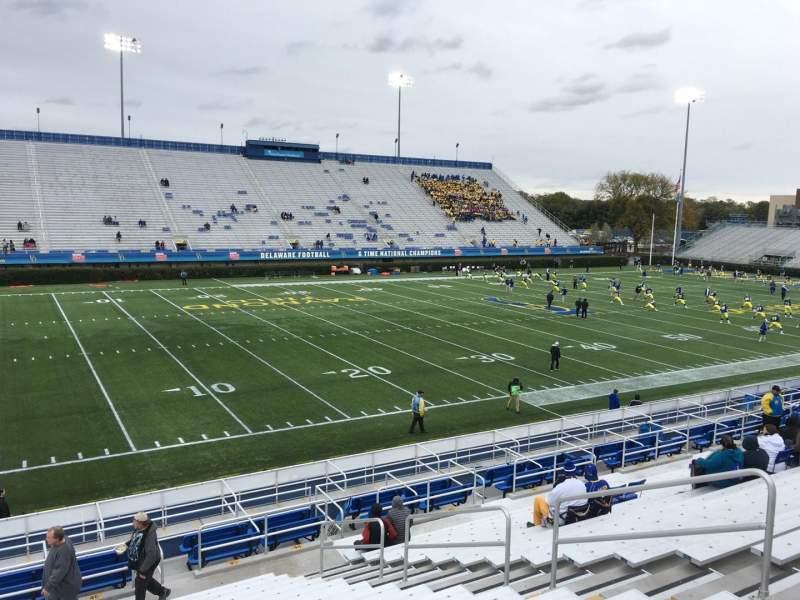 Vista sentada para Delaware Stadium Secção G Fila P Lugar 8