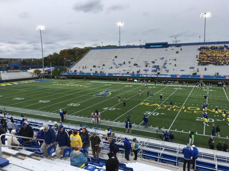 Vista sentada para Delaware Stadium Secção B Fila R Lugar 20